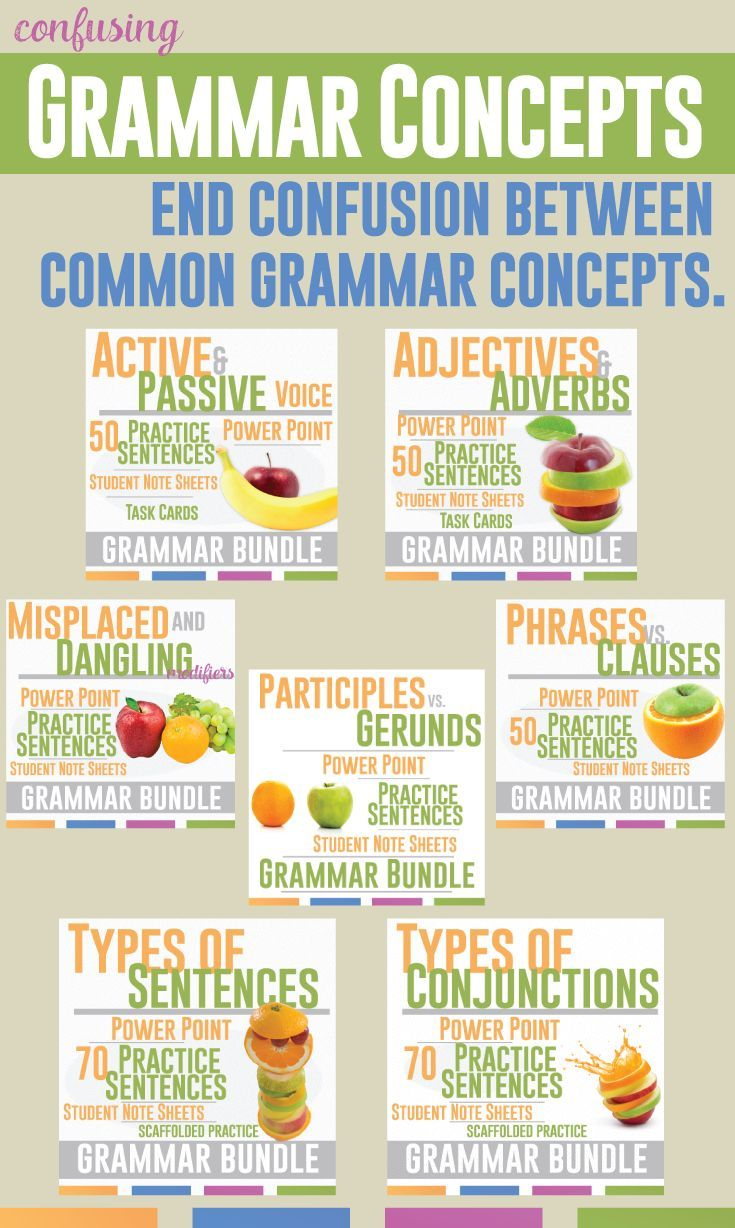 Confusing grammar concepts - conjunctions, types of sentences, phrases and clauses, adjectives and adverbs, active and passive voice - it is all in this bundle. Add to any grammar lesson plan.