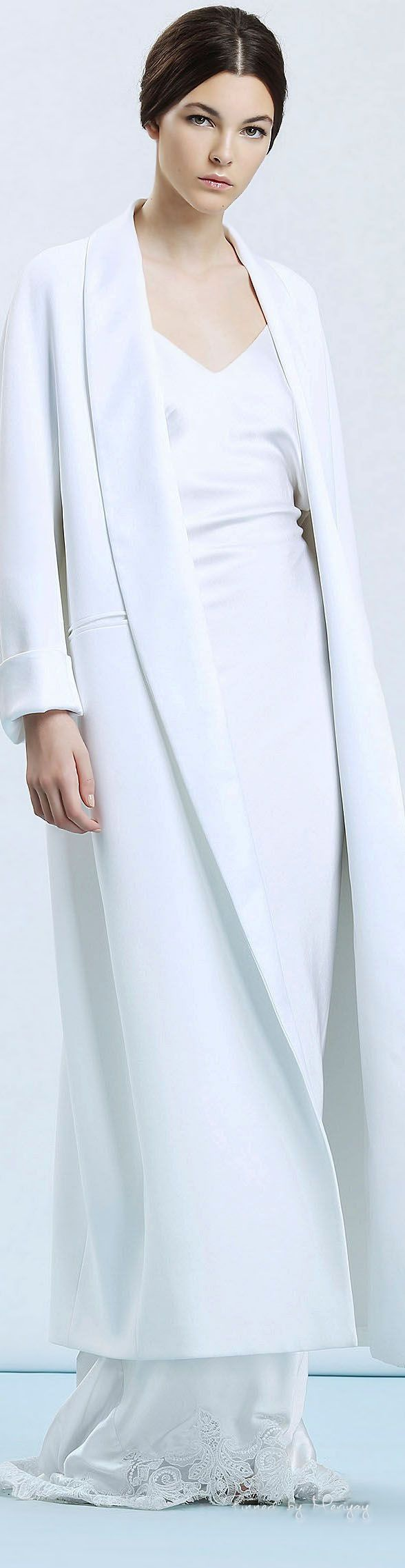 Simple clean and elegant white gown and coat. Ermanno Scervino.SS.2015.
