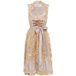 Pastellfarbenes Dirndl aus Spitze in Silber/Gold. Zu leihen bei dresscoded.com.#dresscoded