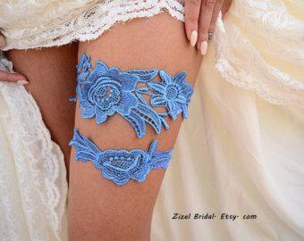 Ensemble de jarretière de mariée bleue Jarretière par ZizelBridal