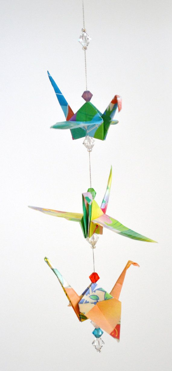 Origami Triple Crane Tropical Mini Mobile by amgdesignstudio, $18.00: