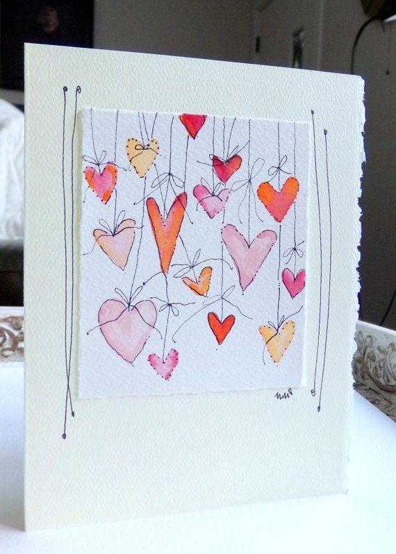 "Hearts On Strings  Watercolor Original Card  ""Big Card"" 5x7 With Matching Envelope  betrueoriginals"