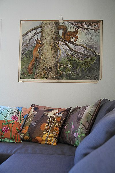Livingroom in cabin by the lake, Åkebo 6, Småland, Sweden. Pillows by artist Emma Jansson. Rent it for a week or two? https://www.airbnb.se/rooms/2676654?s=1EiI