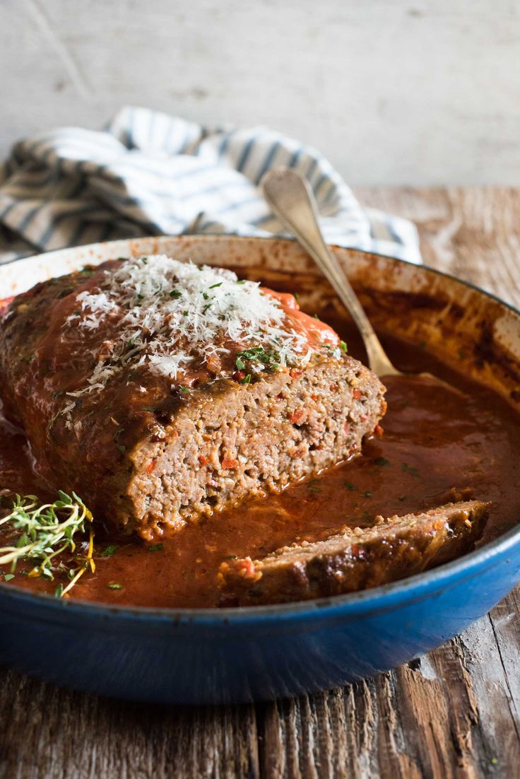 Italian Meatloaf - Inspired by the flavours of homemade Italian sausages, this meatloaf is juicy and packed with flavour. The sauce is especially incredible!
