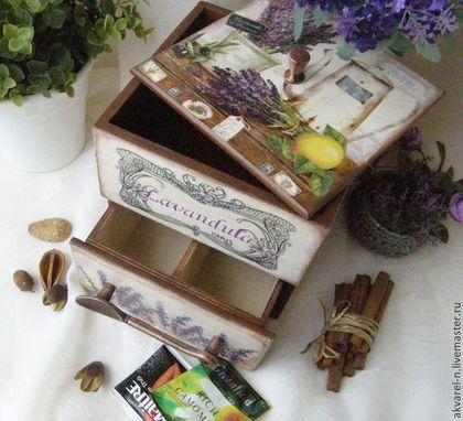 """Cestas, cajas hechas a mano.  Caja para té y dulces """"Lavender"""".  Natalia Bolshakov.  Masters Feria.  Caja para el té, caja de especias"""