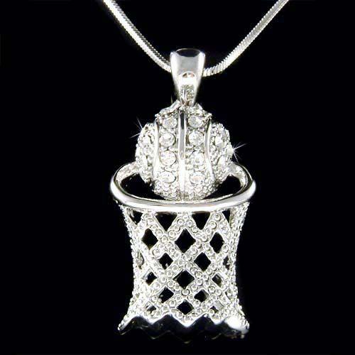 Swarovski Crystal Basketball Hoop Net Sports Pendant Charm Chain Necklace Christmas Gift New on Etsy, $45.00