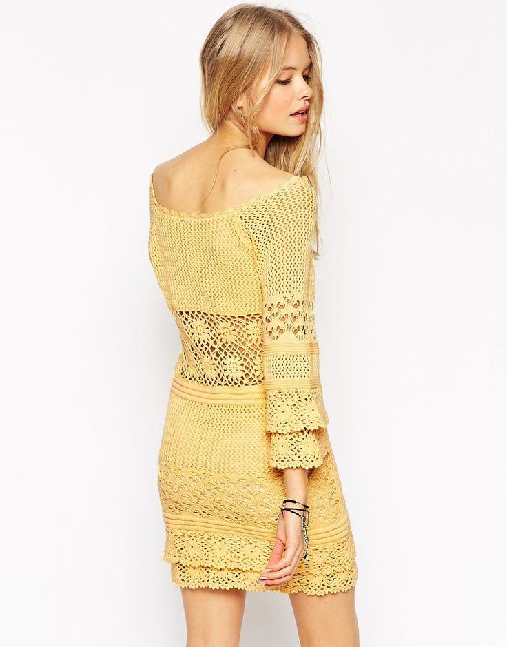 Image 2 ofASOS Crochet Dress With Off Shoulder