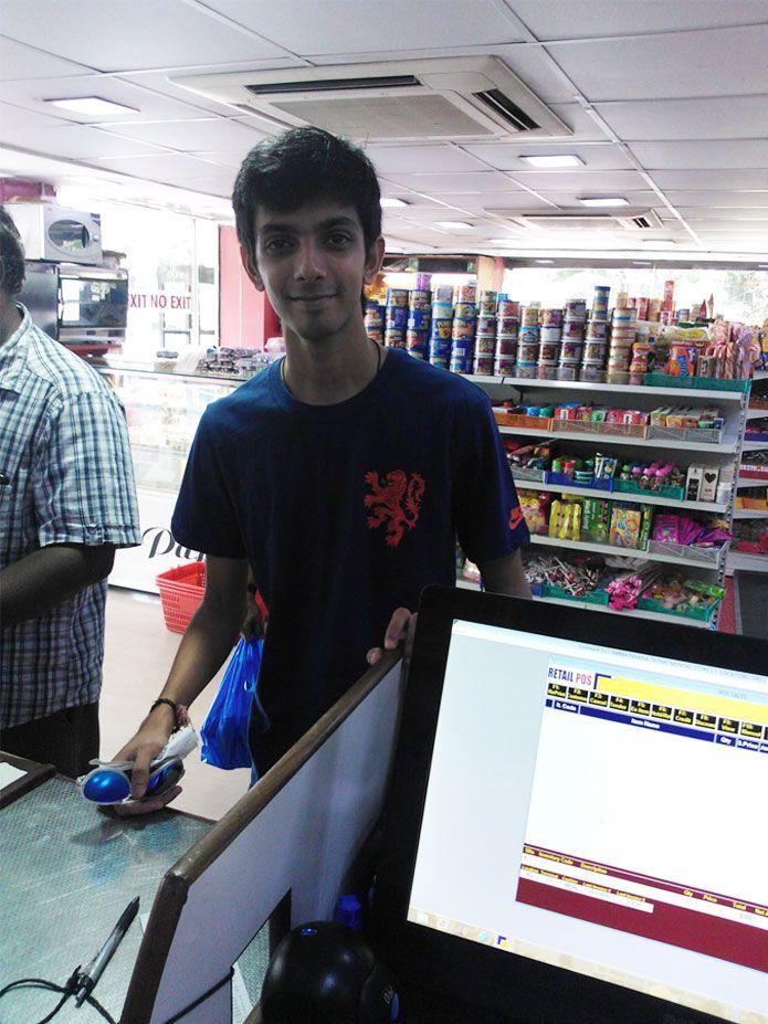 Music Director Anirudh Ravichander shopping at Amma Naana on Friday