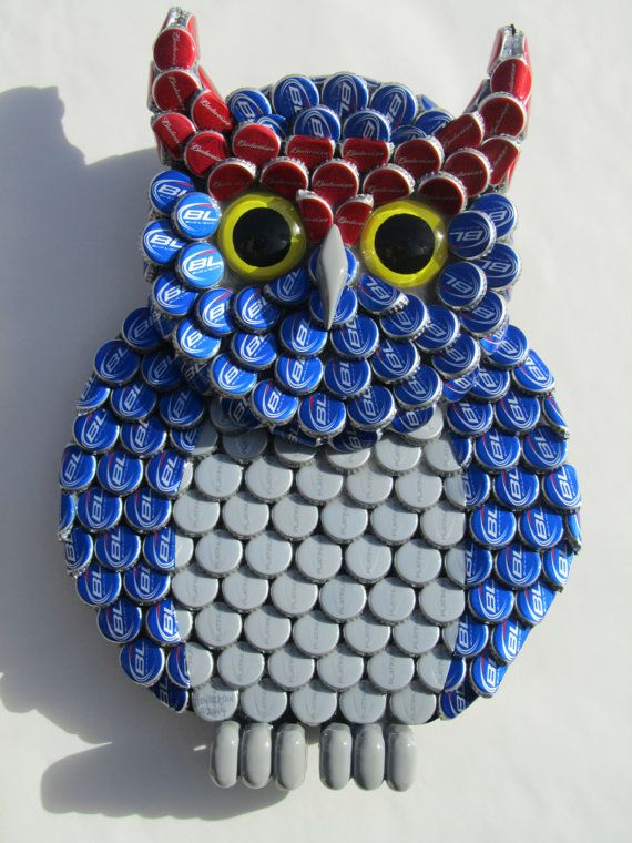 17 best images about owls on pinterest hedwig owl pottery and talavera pottery - Plastic bottle caps crafts ideas ...