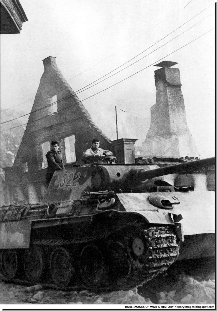 "Belonging to the 5th Armored Division tank Pz.Kpfw. V Ausf. G «Panther"" on the street of Goldap. East Prussia, in November 1944. During World War II Goldap was planned by the German staff as one of the strongholds guarding the rest of East Prussia from the Red Army on the Eastern Front. As a result of heavy fighting for the city and the regions directly east of it, in August and September 1944, 90% of the town was yet again destroyed. Goldap in October 1944."