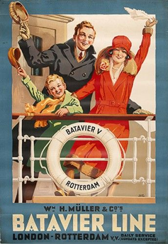 HARKER, Allan. Batavier Line. (London - Rotterdam)  Original lithograph in colours, printed in Amsterdam by L. Van Leer & Co. c.1930.  #travel #family