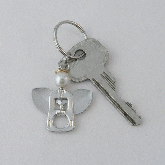 pop tab keychain  angel wire wrapped