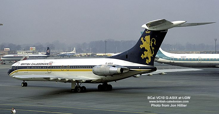 British Caledonian Airways ('BCal') Standard VC10 (series 1100) G-ASIX (c/n: 820) seen taxying at London Gatwick Airport, during the 1970s.