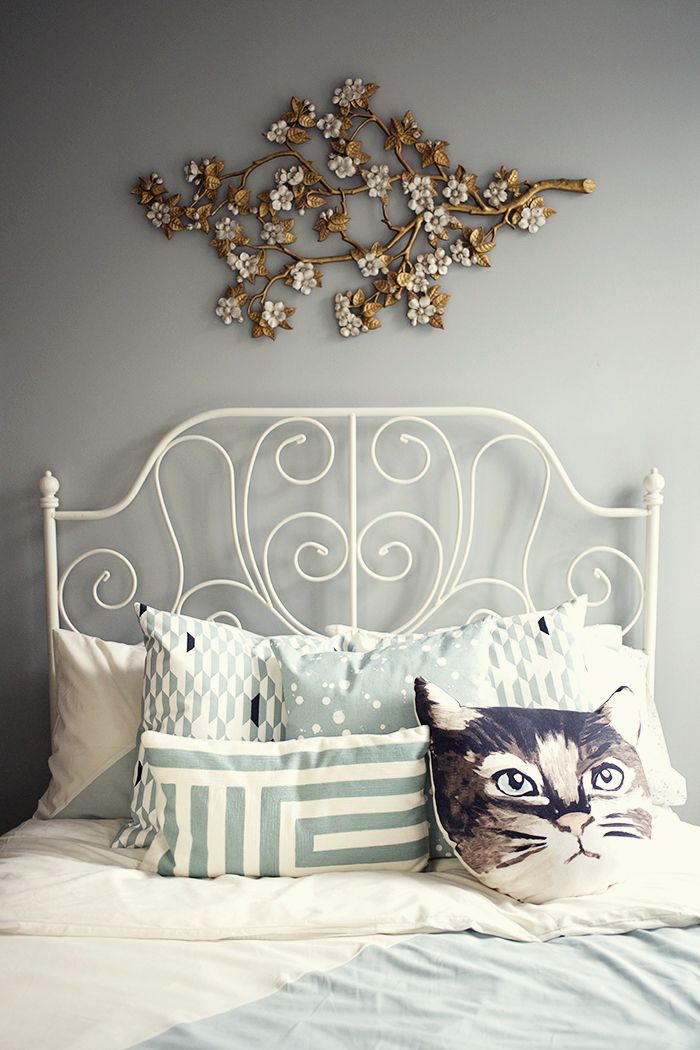 Kate Spade Saturday x West Elm bedding, Urban Outfitters Cat Pillow Ikea bed frame vintage syroco floral wall hanging