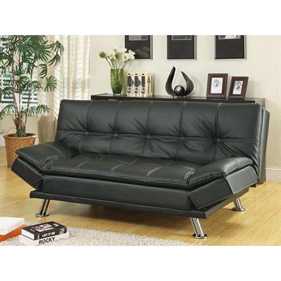 Sofa Bed Stylish Double Sching Metal Legs Adjule Arm Rests Pillow Top Cushions Upholstered In Leather