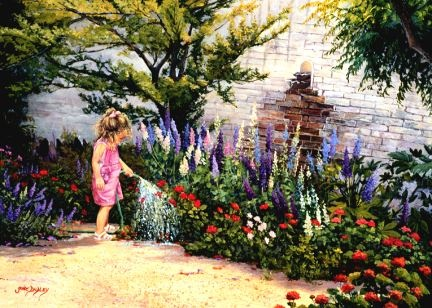 The Little Gardener - Fine Artist June Dudley painter of realistic country gardens, poetic landscape paintings, and nostalgic scenes