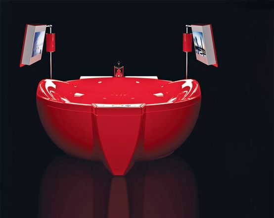 Red Diamond bathtub is more than a place for a relaxing bath. What makes it special is not only the original design, but located on its equipment facilities. And these are among the other two resistant HD TVs, remote controlled console covered with 18-carat gold and a holder for champagne studded with Swarovski crystals. The pleasure of bathing in the tub costing up to $ 47,000. What do you think about it? Would you like to see such a hot issue in Marmite's edition?