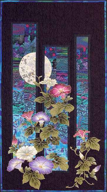 Garden Window by Helene Knott  I am pinning this for the idea of using three panels (triptych) on a solid background