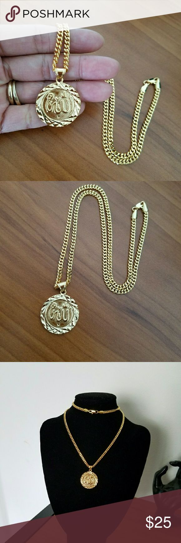 """18K Gold Filled Arabic Style Necklace It's new without tag 18k gold filled men's Arabic Style Necklace  Size: 22""""long  No stamped  Hypoallergenic,  Nickel free Accessories Jewelry"""