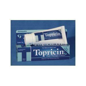 Topical Biomedics - Topricin Foot Therapy Cream 2 oz by Topical Biomedics. $12.45. Uses: Relief of inflammation & pain, and healing treatment, for soft tissue & trauma injuries. Topricin Foot Therapy Cream reduces swelling, stiffness, numbness, tingling & burning pain associated with these soft tissue ailments. -Edema swelling and joint pain in toes, feet and ankles. -Heel pain/soreness (heel spurs) -Bunions pain/soreness (big toe) - Nerve pain (burning pain in ...