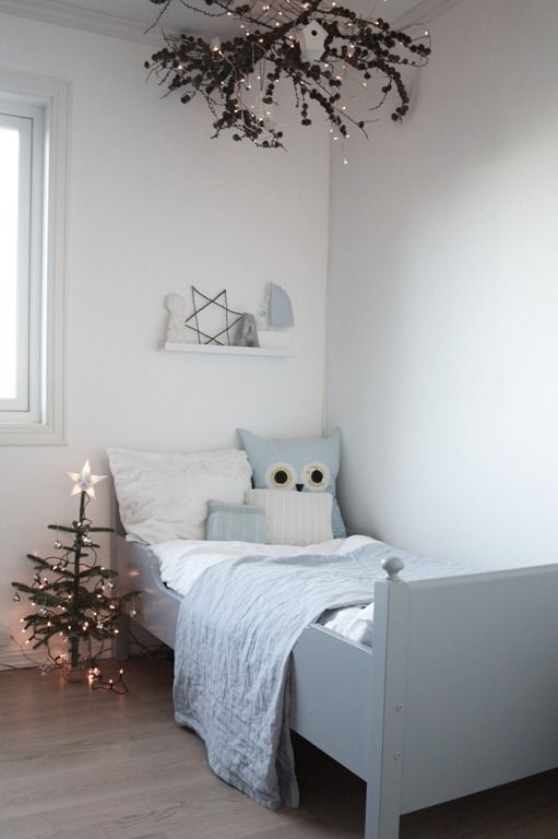 scandinavian, sleigh beds, owls and colour palette ... <3!!  Wish my kids rooms could look like this but they have too much junk!