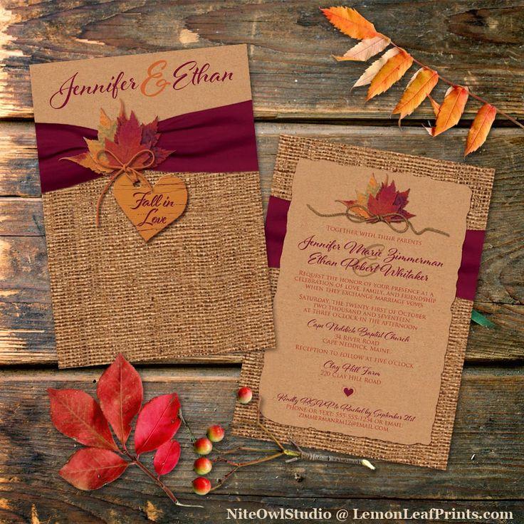 Fall Themed Wedding Invitations: Fall In Love Wedding Invitation