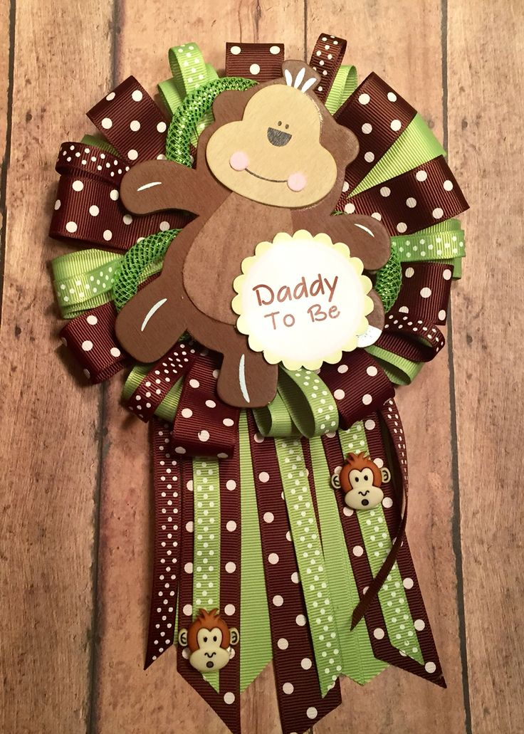 Green and brown polka dot Baby shower Monkey Daddy mum