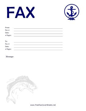 This nautical fax cover sheet is decorated with a picture of a jumping fish, an anchor, and a blue heading with the word Fax in watery text. Free to download and print