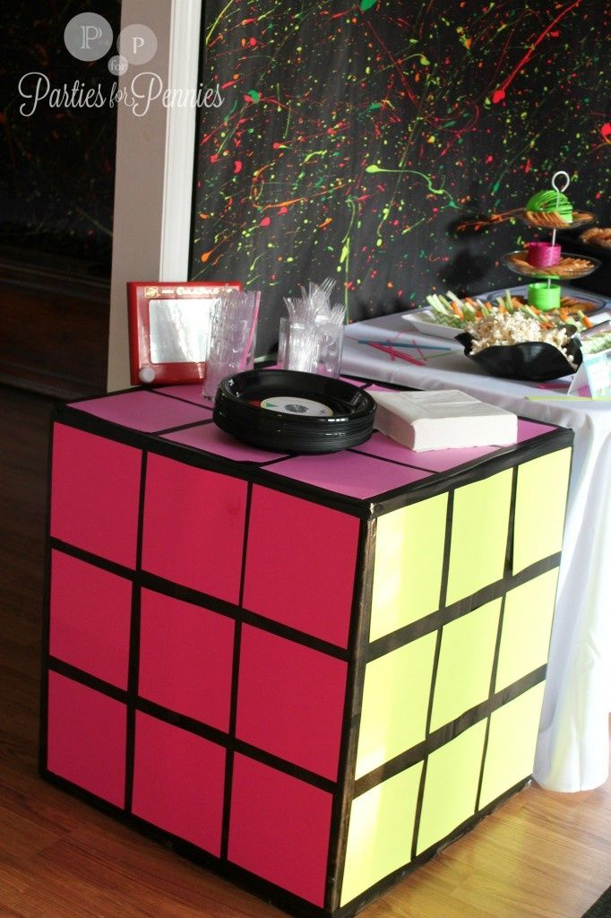 80s Party - rubik cube table, with posterboard and black electrical tape. I wish I would have seen this prior to Zach's party but still had to share. #80'sparty #Christmas #thanksgiving #Holiday #quote