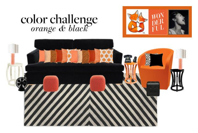 """Colour Challenge: Orange & Black"" by sophie-poualion on Polyvore featuring interior, interiors, interior design, home, home decor, interior decorating, Jonathan Adler, Barclay Butera, Metalmobil and Bungalow 5"