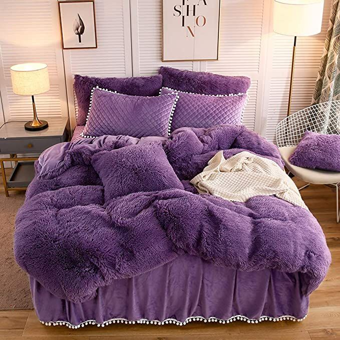 Amazon Com Liferevo Luxury Plush Shaggy Duvet Cover Set 1 Faux Fur Duvet Cover 2 Pompoms Fringe Pillow Sham In 2020 Purple Bedding Sets Purple Bedding Bedding Sets
