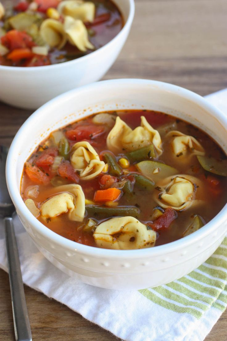 VEGETABLE TORTELLINI SOUP   Featured on www.thebestblogrecipes.com   This is a versatile recipe that you can play around with depending on what veggies you have stocked in your fridge and freezer!