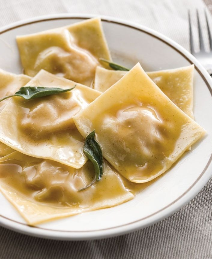 Pumpkin Ravioli with Sage Butter | This classic Italian ravioli is dressed with a simple sauce of lightly browned butter and fresh sage.