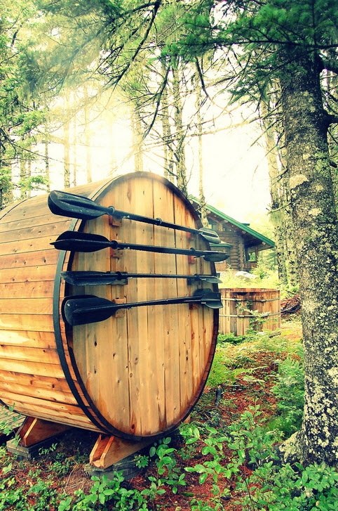 cedar sauna, barrel style.