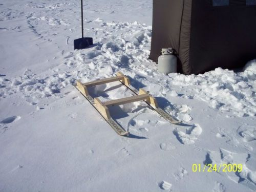15 minus old skis smitty sled for towing a portable ice for Ice fishing snowmobile