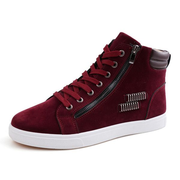 Mens Trendy Zipper and Lace Sneakers