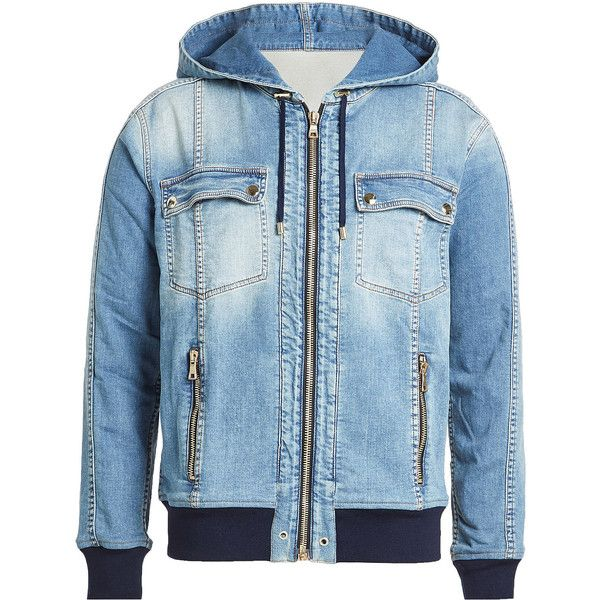 Balmain Zipped Denim Jacket (€1.620) ❤ liked on Polyvore featuring men's fashion, men's clothing, men's outerwear, men's jackets, blue, jean jacket, hooded denim jackets, urban jackets, zipper jacket and zip jacket