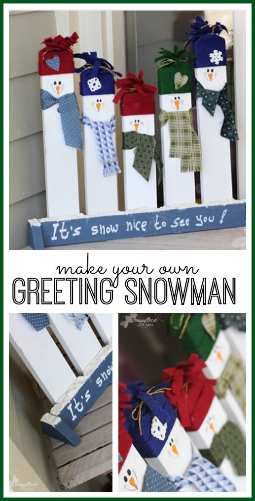 how to make your own Greeting snowman - this idea is so cute for diy porch decor, love it! - - Sugar Bee Crafts