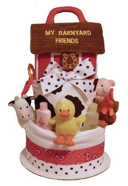 Stork Baby Gift Baskets Reviews : Best ideas about barnyard cake on farm