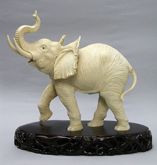 African Walking Elephant  Mammoth Ivory Carving