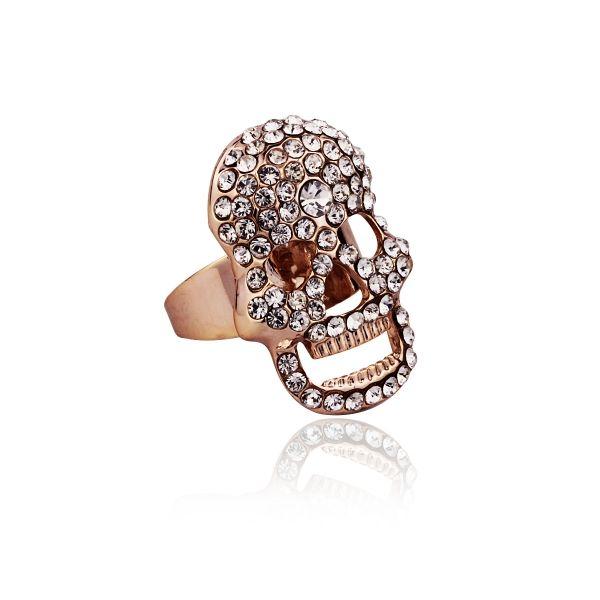 Zirkon Taşlı Kuru Kafa Yüzük #yüzük #moda #kadın #trend #RockinRoll #kurukafa #rock #skull #rebel #skullring #accessory #takı #fashion