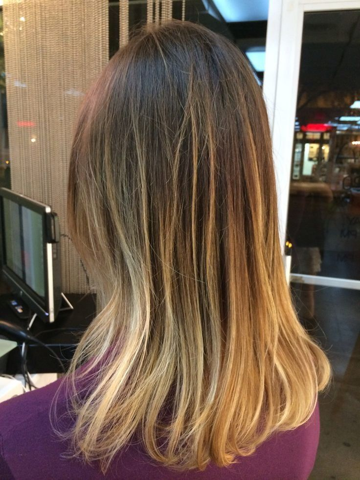 Perfect example of exactly how I DO NOT want my hair to look when it is straight.  The bayalage/ombre highlights look awesome curled, but this is awful straight....I need a happy medium!