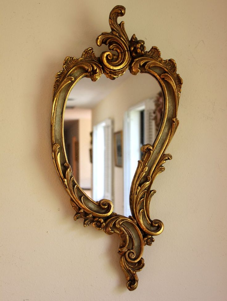 Ruby Lane -  Small Antique, Ornate French Wood and Gesso Mirror