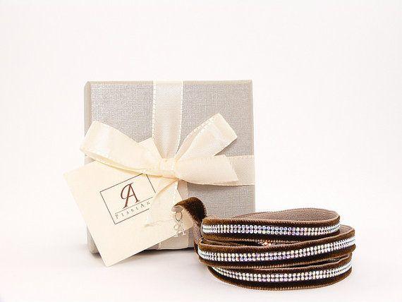 swarovski Brown multi strand bracelet, swarovski brown wrap bracelet, swarovski wrap bracelet