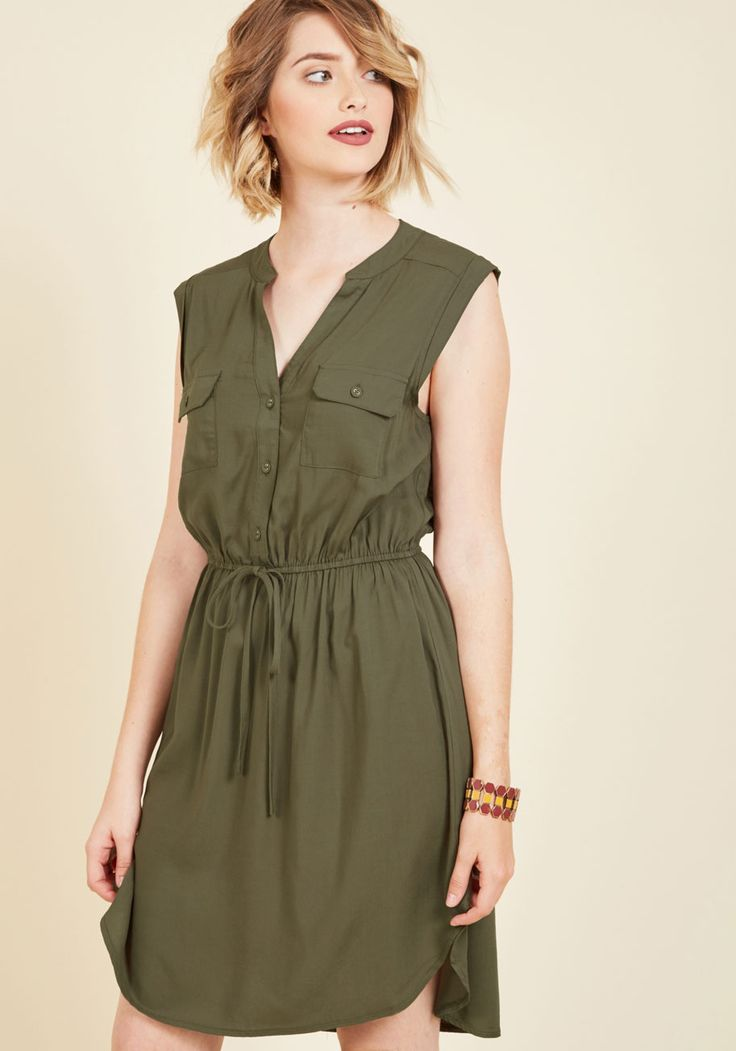 Woods to the Wise Shirt Dress in Olive, @ModCloth