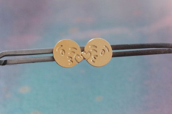 Kissing Face Emoji , Throwing a Kiss Emoji Earrings , Kiss Jewelry , Valentines Gift for Her