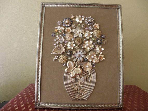 One-of-a-Kind Framed Vintage Jewelry Art Vase by JewelArtbyLinda