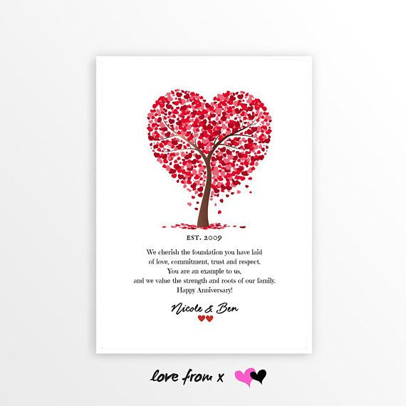 11th Anniversary Gift Personalized Wedding Heart Tree Gift Poetry Gift For Couple For Wife Fo 11th Anniversary Gifts Anniversary Gifts Personalized Wedding