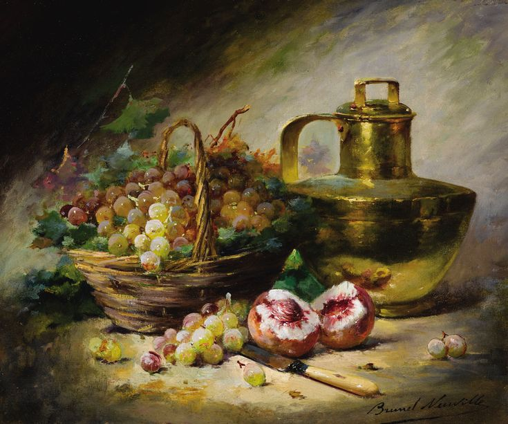 Still Life Oil Paintings | Still life with grapes, peaches and a copper