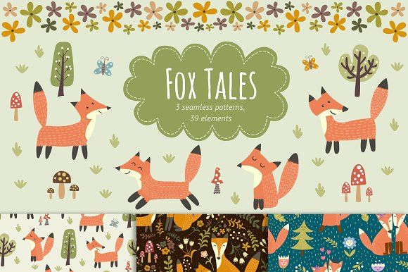 Fox Tales: patterns by JuliyaS on @creativemarket